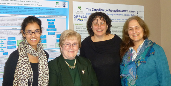 Drs Pamela Liao (MWIA Young Form/NGU Course Coordinator), Shelley Ross (MWIA Secretary General), Erica Frank (NGU Founder), Wendy Norman (UBC/Canadian Contraception Access Team)  (left to right)